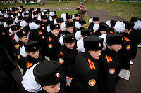 "RUSSIA, Moscow, 10.2010. ©  Sergey Kozmin/EST&OST.The Moscow Girls Cadet Boarding School..Many cadets marching which is an important part of the curriculum..""I love marching and feel so proud when we are all together, shoulder to shoulder, like one organism. I'm ready to die for Russia."" says Alyona Karpova, 13."