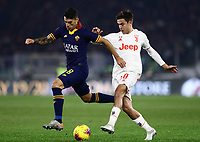 12th January 2020; Stadio Olympico, Rome, Italy; Italian Serie A Football, Roma versus Juventus; Diego Perotti of AS Roma held off by Paulo Dyabala of Juventus