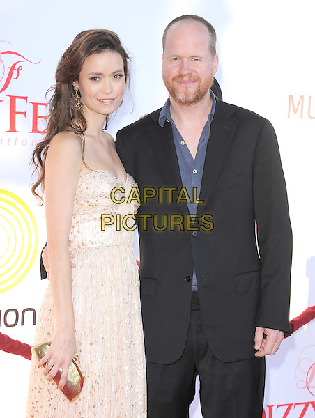 Summer Glau and Joss Whedon.attends the Dizzy Feet Foundation's Celebration of Dance Gala held at The Dorothy Chandler Pavilion at The Music Center in Los Angeles, California, USA,  July 28th 2012..half length strapless beige nude dress back suit blue shirt                                                               .CAP/RKE/DVS.©DVS/RockinExposures/Capital Pictures.