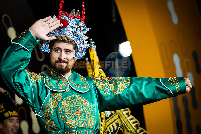 Green Jersey Peter Sagan (SVK) wearing a Bejing Opera costume on stage at the media day before the 2018 Shanghai Criterium, Shanghai, China. 16th November 2018.<br /> Picture: ASO/Pauline Ballet | Cyclefile<br /> <br /> <br /> All photos usage must carry mandatory copyright credit (&copy; Cyclefile | ASO/Pauline Ballet)