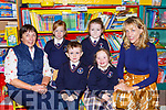 Maire Collins Principal right with her junior infant class and Marie O'Callaghan SNA in Knocknagoshel NS on Wednesday