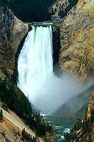 The Lower Falls of the Yellowstone River and the Grand Canyon of the Yellowstone in Yellowstone National Park in Wyoming