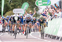 Picture by Allan McKenzie/SWpix.com - 05/09/2017 - Cycling - OVO Energy Tour of Britain -  Stage 3 Normanby Hall Country Park to Scunthorpe - Orica Scott's Caleb Ewan wins the sprint against Katusha Alpecin's Alexander Kristoff & Dimension Data's Edvald Boasson Hagen to win Stage 3 of the Tour of Britain.