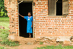Girl at classroom entrance, Bigodi, western Uganda