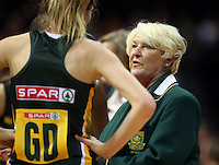 26.07.2015 South Africa's coach Norma Plummer in action during the Silver Fern v South Africa netball test match played at Claudelands Arena in Hamilton. Mandatory Photo Credit ©Michael Bradley.