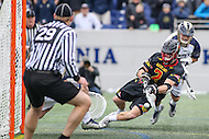 Annapolis, MD - February 11, 2017: Maryland Terrapins Colin Heacock (2) scores a goal during game between Maryland vs Navy at  Navy-Marine Corps Memorial Stadium in Annapolis, MD.   (Photo by Elliott Brown/Media Images International)