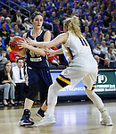 SIOUX FALLS, SD: MARCH 5: Maria Martianez #44 of Oral Roberts looks past South Dakota State defender Madison Guebert #11 during the Summit League Basketball Championship on March 5, 2017 at the Denny Sanford Premier Center in Sioux Falls, SD. (Photo by Dick Carlson/Inertia)