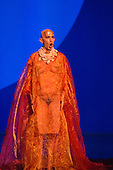 London, UK. 2 March 2016. Pictured: Anthony Roth Costanzo as Akhnaten. English National Opera (ENO) dress rehearsal of the Philip Glass opera Akhnaten at the London Coliseum. 7 performances from 4  to 18 March 2016. Directed by Phelim McDermott with Anthony Roth Costanzo as Akhnaten, Emma Carrington as Nefertiti, Rebecca Bottone as Queen Tye, James Cleverton as Horemhab, Clive Bayley as Aye, Colin Judson as High Priest of Amon and Zachary James as Scribe. Skills performances by Gandini Juggling.