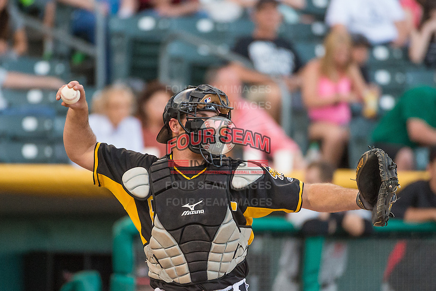 Charlie Cutler (37) of the Salt Lake Bees on defense against the Albuquerque Isotopes in Pacific Coast League action at Smith's Ballpark on June 8, 2015 in Salt Lake City, Utah.  (Stephen Smith/Four Seam Images)