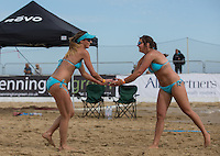 Team England celebrate a point during the Women's England v Holland Volleyball match at Sandbanks, Poole, England on 10 July 2015. Photo by Andy Rowland.