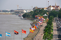 Phnom Penh, Cambodia. View over Tonle Sap next to Royal Palace.