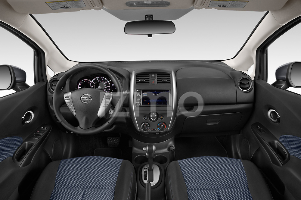 Stock photo of straight dashboard view of a 2019 Nissan Versa-Note SV 5 Door Hatchback