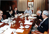 United States President Reagan holds a National Security Council (NSC) Meeting on the TWA hijacking in the White House Situation Room on Sunday, June 16, 1985. .Mandatory Credit: Terry Arthur - White House via CNP