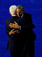 Former president Bill Clinton and president Barrack Obama during the 2012 Democratic National Convention at the Time Warner Center on September 5, 2012 in Charlotte, North Carolina.