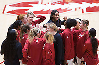 Stanford, CA - January 24, 2020: Huddle at Maples Pavilion. The Stanford Cardinal defeated the Colorado Buffaloes in overtime, 76-68.