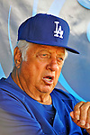 15 March 2008: Los Angeles Dodgers' interim manager Tommy Lasorda looks out from the dugout during a Spring Training game between the Washington Nationals and the LA Dodgers at at Space Coast Stadium, in Viera, Florida. Lasorda is replacing manager Joe Torre who is traveling to China with a group of Dodger players for an exhibition series of games. ..Mandatory Photo Credit: Ed Wolfstein Photo