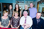 Celebrating their Ruby wedding anniversary with friends and family  at Cassidy's on Saturday night were Eileen and Pat Tobin from Ballinorig Close Tralee .Front l-r Shirley Maloney, Eileen and Pat Tobin (anniversary couple),Matt Maloney,Nicole Maloney, Rachel Tobin,Caroline Foley and Tim Foley. Missing from the photograph are Padraig and Michael Tobin who are living Perth, Australia and could not attend