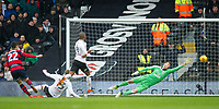 QPR Pawel Wszolek no 22 scoring second goal for his team during the Sky Bet Championship match between Fulham and Queens Park Rangers at Craven Cottage, London, England on 17 March 2018. Photo by Andrew Aleksiejczuk / PRiME Media Images.