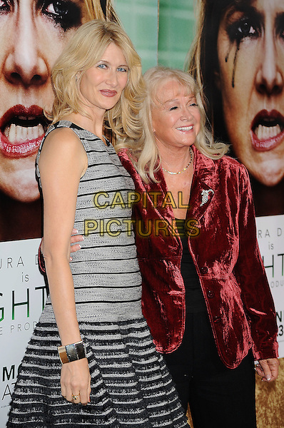 "Laura Dern & Diane Ladd.arriving at the Los Angeles Premiere of HBO's ""Enlightened"" at Paramount Theater on the Paramount Studios backlot in Hollywood, California on October 6th, 2011..half  grey gray black sleeveless striped  dress red velvet jacket .CAP/ROT/TM.©TM/Rothstock/Capital Pictures"