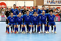 20191010 - HALLE: Halle-Gooik's team photo with Van Beeck (GK) Tomic (7) Cordier (15) Redivo (GK) Teixeira (17) Dujacquir (2) Patias (8) Zaramello (GK) (2) Leo (11) Diogo (19) Malengreaux (12)  Carpes (10) Grello (13) Bernardes (14) before the UEFA Futsal Champions League Main Round match between FP Halle-Gooik (BEL) and Kherson (UKR) on1 0th October 2019 at De Bres Sportcomplex, Halle, Belgium. PHOTO SPORTPIX | SEVIL OKTEM