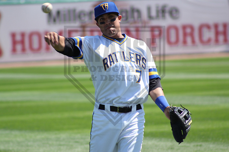 APPLETON - AUGUST 2011: Brandon Macias (7) of the Wisconsin Timber Rattlers, Class-A affiliate of the Milwaukee Brewers during a game on August 28, 2011 at Time Warner Cable Field at Fox Cities Stadium in Appleton, Wisconsin. (Photo by Brad Krause) ...