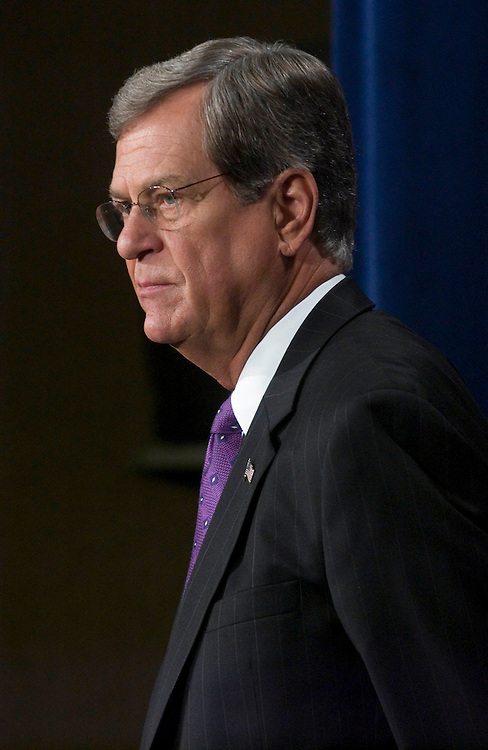 "01/18/06.LOTT ON HIS 2006 AGENDA--Sen. Trent Lott, R-Miss., during a news conference on his 2006 agenda. .From CQ.com: .""A day after announcing his re-election campaign, Sen. Trent Lott, R-Miss., certainly sounded like someone with leadership ambitions..He held a news conference Wednesday to expound on Medicare, Amtrak, lobbying reform, appropriations earmarks and immigration, and about improving the tone and productivity of the Senate..But when asked directly whether he wants to return to Senate leadership, Lott was cagey..ÒI donÕt have any plans to take on anybody,Ó Lott said. ÒWho knows what the future holds? Thirty days is an eternity in politics.Ó.Lott was ousted as majority leader late in 2002 after remarking at Sen. Strom ThurmondÕs 100th birthday party that if ThurmondÕs presidential campaign in 1948 had succeeded, America would be better off. Thurmond had run as a segregationist..In the three years since, Lott has worked to rehabilitate his reputation and begun playing more of a behind-the-scenes role as a broker in the Senate..Majority Leader Bill Frist, R-Tenn., who replaced Lott after his verbal gaffe, is leaving the Senate at the end of this year, setting up a leadership race in January 2007."".CONGRESSIONAL QUARTERLY PHOTO BY SCOTT J. FERRELL"