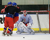 Antonin Honejsek  (Czech Republic - 7), David Musil (Czech Republic - 6), Filip Novotny (Czech Republic - 1) - Team Czech Republic practiced at the Urban Plains Center in Fargo, North Dakota, on Saturday, April 18, 2009 in the morning prior to their final match against Sweden during the 2009 World Under 18 Championship.