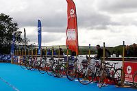 Photo: Richard Lane/Richard Lane Photography. British Triathlon Super Series, Parc Bryn Bach. 18/07/2009. .Cycles in the Women's Elite Race transition area.