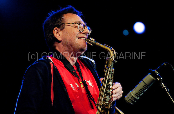American avant-garde musician John Zorn performing at the Jazz Middelheim festival in Antwerp (Belgium, 13/08/2009)