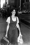 Gilda Radner walking down sixth Avenue at Rockefeller Center on May 1, 1980 in New York City.