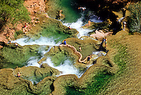 Havasupai Canyon with the green  pool below the fall. Arizona, USA