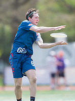 "Washington, DC - APR 22, 2018: DC Breeze Marcus Thaw (66) catches a pass during AUDL game between DC Breeze and the Ottawa Outlaws. The DC Breeze get the win 26-19 over Ottawa in the Battle of the Capitals"" at Catholic University Washington, DC. (Photo by Phil Peters/Media Images International)"