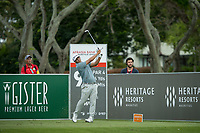 Kurt Kitayama (USA) on the 9th tee during the 3rd round of the AfrAsia Bank Mauritius Open, Four Seasons Golf Club Mauritius at Anahita, Beau Champ, Mauritius. 01/12/2018<br /> Picture: Golffile | Mark Sampson<br /> <br /> <br /> All photo usage must carry mandatory copyright credit (&copy; Golffile | Mark Sampson)
