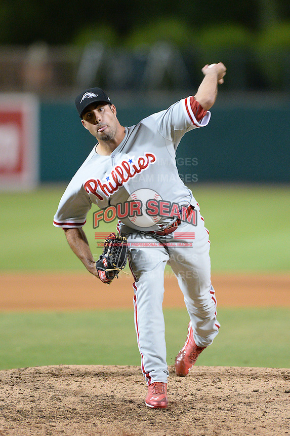Peoria Javelinas pitcher Austin Wright (52), of the Philadelphia Phillies organization, during an Arizona Fall League game against the Glendale Desert Dogs on October 15, 2013 at Camelback Ranch Stadium in Glendale, Arizona.  Glendale defeated Peoria 5-1.  (Mike Janes/Four Seam Images)