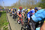 The peloton climb Beaucarnestraat during the 2019 E3 Harelbeke Binck Bank Classic 2019 running 203.9km from Harelbeke to Harelbeke, Belgium. 29th March 2019.<br /> Picture: Eoin Clarke | Cyclefile<br /> <br /> All photos usage must carry mandatory copyright credit (© Cyclefile | Eoin Clarke)