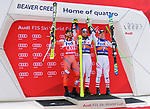 December 1, 2017:  Norway's, Kjetil Jansrud (l), Austria's, Vincent Kriechmayr (center), and Austria's, Hannes Reichelt (r), on the podium following the Super G competition during the FIS Audi Birds of Prey World Cup, Beaver Creek, Colorado.