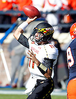 Maryland Terrapins quarterback Perry Hills (11) throws the ball during the game against Virginia in Charlottesville, Va. Maryland defeated Virginia 27-20.