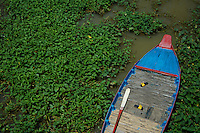 Colorful boat on the Tonle Sap Lake, Cambodia
