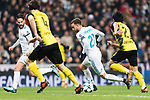 Borja Mayoral of Real Madrid(C) in action during the Europe Champions League 2017-18 match between Real Madrid and Borussia Dortmund at Santiago Bernabeu Stadium on 06 December 2017 in Madrid Spain. Photo by Diego Gonzalez / Power Sport Images