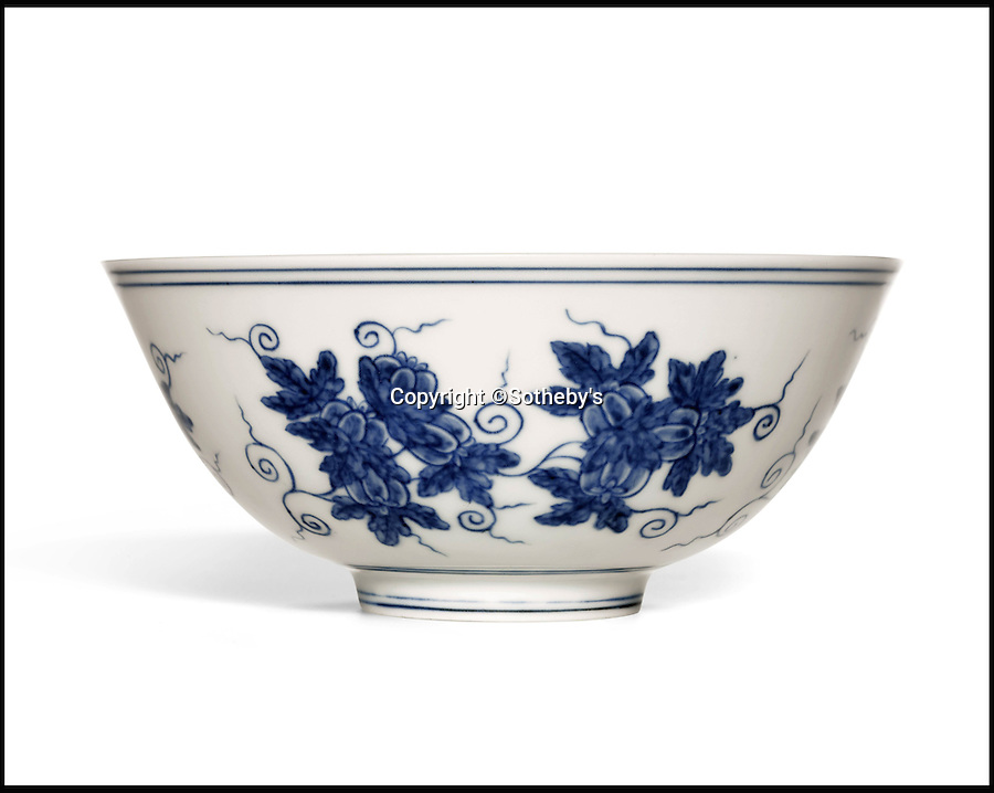 BNPS.co.uk (01202 558833)<br /> Pic: Sothebys/BNPS<br /> <br /> This rare Blue and White 'Palace Bowl' that is just 15.4cm is estimated at £6 million.<br /> <br /> A collection of Chinese antiques that a farmer paid as little as £100 per item for has sold for a whopping £45.9 million.<br /> <br /> The late Roger Pilkington accumulated about 100 pieces of exquisite Chinese ceramics in the late 1950s and early '60s <br /> <br /> He died in 1969 aged just 40. His 'time capsule' collection has remained in his family ever since and they have now sold it at auction.<br /> <br /> Leading the sale was a 9ins tall 15th century blue and white Moon Flask which sold for a £10.1m.