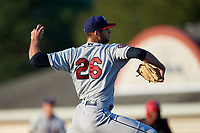 Mahoning Valley Scrappers starting pitcher Sam Hentges (26) delivers a pitch during a game against the Batavia Muckdogs on August 16, 2017 at Dwyer Stadium in Batavia, New York.  Batavia defeated Mahoning Valley 10-6.  (Mike Janes/Four Seam Images)