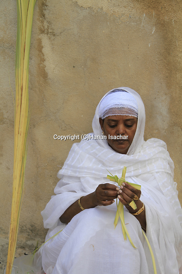Israel, Jerusalem, an Ethiopian Orthodox Pilgrim on Palm Sunday at Deir es Sultan, the Church of the Holy Sepulchre
