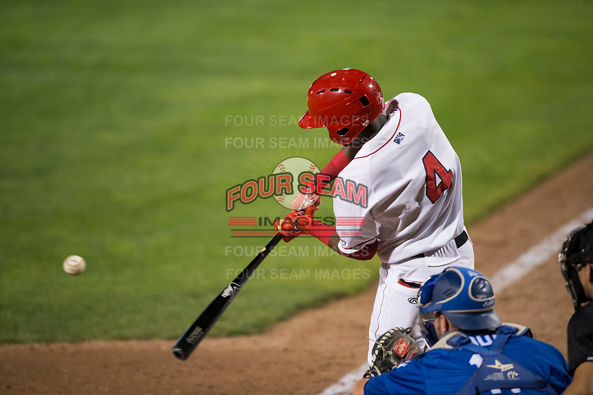 Orem Owlz center fielder D'Shawn Knowles (4) swings at a pitch during a Pioneer League game against the Ogden Raptors at Home of the OWLZ on August 24, 2018 in Orem, Utah. The Ogden Raptors defeated the Orem Owlz by a score of 13-5. (Zachary Lucy/Four Seam Images)