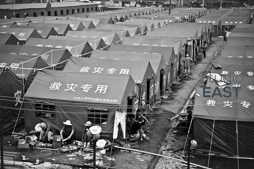 One of the largest tent camp sites managed by the government, in Dujiangyan, Sichuan province, China, on May 24, 2008. The death toll from China's earthquake on May 12 rose to 69,016 as of Sunday, June 1, a report from the China's Information Office of the State Council said. In addition, 368,545 were injured and 18,830 others were still missing in the 8.0-magnitude quake that jolted southwestern Sichuan Province and some neighboring areas. Photo by Chad Ingraham/Pictobank