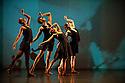 "London, UK. 14/03/2012. Shobana Jeyasingh Dance's new double bill ""Classic Cut"" premieres in the Linbury Studio Theatre, Royal Opera House. The company of dancers are: Kamala Devam, Rathimalar Govindarajoo, Sooraj Subramaniam, Sri Thina Subranmaniam, Devaraj Thimmaiah and Parshwanath Upadhye. This piece is Dev Kahan Hai?/Where is Dev? Photo credit: Jane Hobson"