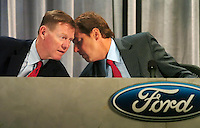 Alan Mulally, president and chief executive officer, left, of Ford Motor company and Bill Ford executive chairman, right, of Ford Motor Company attend the 2007 Ford annual meeting Thursday, may, 10, 2007 in Wilmington, Delaware. (Bradley C Bower/Boloomberg News)