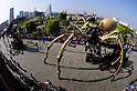 Yokohama, April 19, 2009. The huge mechanical spiders of French performance artists, 'La Machine', take to the streets of Yokohama as part of the city's five months of celebrations to mark its 150th harbor's Anniversary.