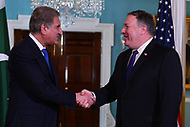 Washington, DC - October 2, 2018: U.S. Secretary of State Michael Pompeo meets with Pakistani Foreign Minister Makhdoom Shah Mahmood Qureshi at the Department of State in Washington, D.C. October 2, 2018.  (Photo by Don Baxter/Media Images International)
