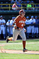 Kacy Clemens (42) of the Texas Longhorns runs to first base during a game against the UCLA Bruins at Jackie Robinson Stadium on March 12, 2016 in Los Angeles, California. UCLA defeated Texas, 5-4. (Larry Goren/Four Seam Images)
