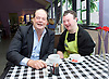 Stephen Hammond, Conservative parliamentary candidate for Wimbledon and the former parliamentary under-secretary of State for Transport is on the general election campaign trail in Wimbledon today (Monday 15th May 2017). <br /> <br /> Visiting the Merton Mencap Caf&eacute;, open every Monday at Holy Trinity Church in The Broadway it offers a range of healthy home-made dishes &amp; is run by adults with a learning disability, supported by Merton Mencap staff and volunteers. <br /> <br /> Hammond who has an 11,408 majority (24.1%) met some of the workers who have learning disabilities including <br /> <br /> L to R: <br /> <br /> <br /> Stephen Hammond ; George Cary <br /> <br /> <br /> <br /> <br /> Photograph by Elliott Franks <br /> Image licensed to Elliott Franks Photography Services